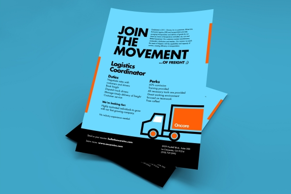 Oncore job fair recruitment flyer design