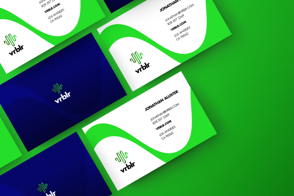 Vrblr business card designs on green background